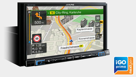 Built-in iGo Primo NextGen Navigation - INE-W710-500MCA